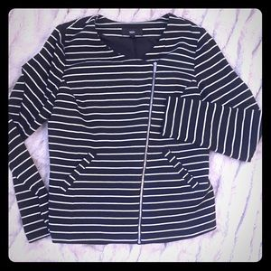 Mossimo Asymmetrical Zip Striped Jacket-L